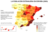 Distribution of the foreign population in Spain in 2005 by percentage
