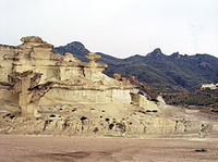 The southeasternmost end of the Iberian peninsula features an arid climate. In the image, Murcia region
