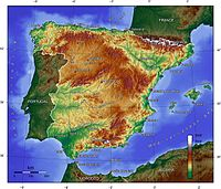 Topographic map of Spain