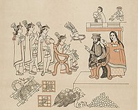 Depiction of the 1519 meeting of conquistador Hernán Cortés and his counsellor woman La Malinche with Aztec emperor Moctezuma II in Tenochtitlan