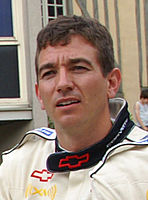 Oliver Gavin (pictured in 2009) held off his Corvette Racing teammate Antonio García to win in the GTLM category for the No. 4 team by 0.034 seconds.