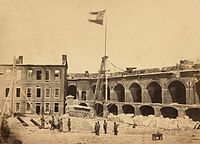 """The Confederate """"Stars and Bars"""" flying from Fort Sumter"""