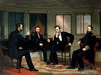 The Peacemakers by George Peter Alexander Healy portrays Sherman, Grant, Lincoln, and Porter discussing plans for the last weeks of the Civil War aboard the steamer River Queen in March 1865.