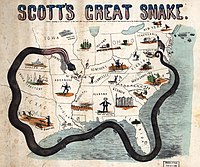 """General Scott's """"Anaconda Plan"""" 1861. Tightening naval blockade, forcing rebels out of Missouri along the Mississippi River, Kentucky Unionists sit on the fence, idled cotton industry illustrated in Georgia."""