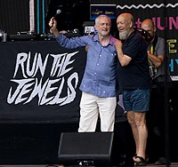 Jeremy Corbyn and Michael Eavis together on the Pyramid Stage at the 2017 Glastonbury Festival