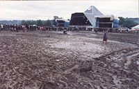 The Pyramid Stage in 1985. A large area of mud covered this area