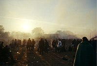 Techno music is played on a sound-system at dawn, Glastonbury 2000