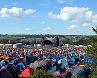 """Glastonbury Festival's """"Other Stage"""" in 2004 with tents in the foreground"""