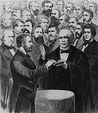 Grant's second inauguration as president by Chief Justice Salmon P. Chase, surrounded by top officials, on March 4, 1873