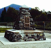 """Memorial to the """"last spike"""" in Craigellachie"""