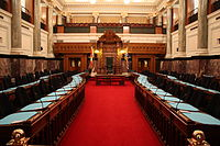 The meeting chamber of the Legislative Assembly