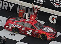 Harvick celebrating after winning the 2020 FireKeepers Casino 400
