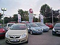 Vauxhall Corsas on sale at a former dealership in Wetherby, West Yorkshire