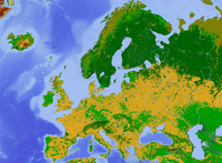 Land use map of Europe with arable farmland (yellow), forest (dark green), pasture (light green), and tundra or bogs in the north (dark yellow)
