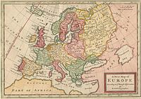 A New Map of Europe According to the Newest Observations (1721) by Hermann Moll draws the eastern boundary of Europe along the Don River flowing southwest, and the Tobol, Irtysh, and Ob Rivers flowing north