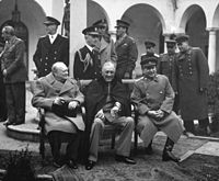 """The """"Big Three"""" at the Yalta Conference in 1945; seated (from the left): Winston Churchill, Franklin D. Roosevelt, and Joseph Stalin"""