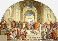 The School of Athens by Raphael (1511): Contemporaries such as Michelangelo and Leonardo da Vinci (centre) are portrayed as classical scholars of the Renaissance.
