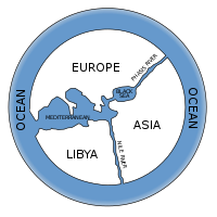 First map of the world according to Anaximander (6th century BC)