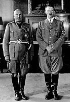 Nazi Germany began a devastating World War II in Europe by its leader, Adolf Hitler. Here Hitler, on the right, with his closest ally, the Italian dictator Benito Mussolini, in 1940