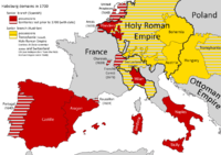 Habsburg dominions in the centuries following their partition by Charles V, Holy Roman Emperor. Spain's principal military base in Europe was the Duchy of Milan.