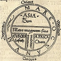 A medieval T and O map printed by Günther Zainer in 1472, showing the three continents as domains of the sons of Noah — Asia to Sem (Shem), Europe to Iafeth (Japheth), and Africa to Cham (Ham)