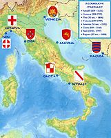 The maritime republics of medieval Italy reestablished contacts between Europe, Asia and Africa with extensive trade networks and colonies across the Mediterranean, and had an essential role in the Crusades.