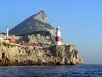 Europa Point as seen from the Strait of Gibraltar, which separates the continents of Europe and Africa, also being between the Atlantic Ocean and the Mediterranean Sea.