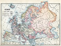 1916 political map of Europe showing most of Moll's waterways replaced by von Strahlenberg's Ural Mountains and Freshfield's Caucasus Crest, land features of a type that normally defines a subcontinent