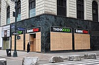 A GameStop and ThinkGeek store in New York City in November 2020, boarded up due to concerns of violence following the presidential election