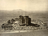 Ruins of the Surya Temple at Martand, which was destroyed due to the iconoclastic policies of Sikandar Butshikan, photo taken by John Burke in 1868.