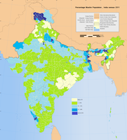 Muslims as percentage of total population in different districts of India as per census 2011