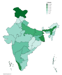 Muslims as percentage of total population in different states of India (2018 Estimate).