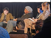 Sundance Film Festival, 2014: John Boyega (2nd from the left), together with Josh Wiggins, Kodi Smit-McPhee and Sharon Swart (from the left to the right)