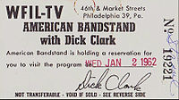 Ticket for a broadcast in 1962, when the show was still in Philadelphia.