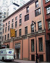 Whitney Museum of American Art's original location, at 8–12 West 8th Street, between Fifth Avenue and MacDougal Street; currently home to the New York Studio School of Drawing, Painting and Sculpture.