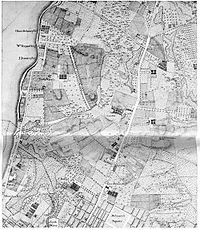 Map of old Greenwich Village. A section of Bernard Ratzer's map of New York and its suburbs, made ca. 1766 for Henry Moore, royal governor of New York, when Greenwich was more than 2 miles (3 km) from the city.