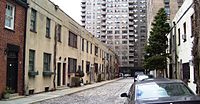 Washington Mews in Greenwich Village; an NYU building can be seen in the background
