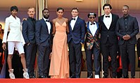 Lee and his cast promoting BlacKkKlansman at the 2018 Cannes Film Festival