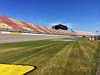 Michigan International Speedway's front stretch, view from the infield early on race day.