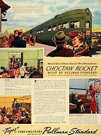 Ad for the new Choctaw Rocket by the train's builder, Pullman-Standard.