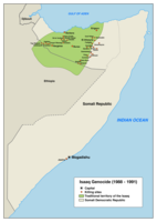 Map of the sites related to the Isaaq genocide