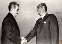 Major General Mohamed Siad Barre, Chairman of the Supreme Revolutionary Council, meeting with President of Romania Nicolae Ceauşescu.