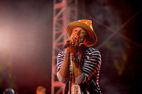 Pharrell Williams performing at the 2014 Coachella Valley Music and Arts Festival.