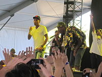 Pharrell Williams, Odd Future and Tyler, the Creator performing together in April 2011