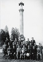 Founding members of the Canadian Japanese Association at the Japanese Canadian War Memorial in Vancouver, 1920.