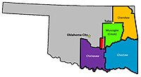 The former reservations of the Five Civilized Tribes in dispute in McGirt v. Oklahoma