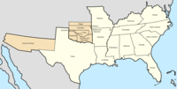 Map of the Confederate States with allied tribes (in present-day Oklahoma)