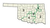 The five congressional districts of Oklahoma