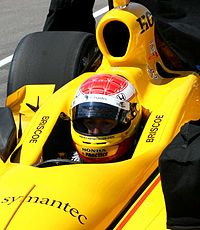 Ryan Briscoe waits for a qualification attempt at Indy in 2007