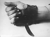 """The Srbosjek (""""Serb cutter""""), an agricultural knife worn over the hand that was used by the Ustaše for the quick slaughter of inmates."""